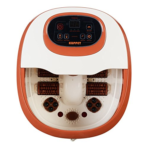KUPPET FS11 Foot Pedicure Spa/Bath with Remote Control, HF Vibration, Heat, O2 Bubbles, Red Light, Digital Adjustable Temperature Control, Automatic Massage Rollers for Relaxation and Rejuvenation -