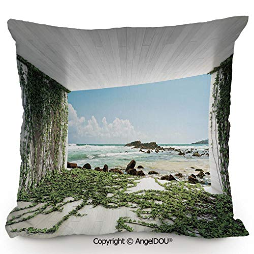 AngelDOU Fashion Sofa Cotton Linen Throw Pillow Cushion,Wooden Palques Seem Tunnel with Ocean Sea Moss Coastal Scenery,Bed Office car Pillow Customized Accept.23.6x23.6 inches