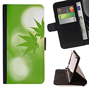 King Air - Premium PU Leather Wallet Case with Card Slots, Cash Compartment and Detachable Wrist Strap FOR Samsung Galaxy S4 Mini i9190 I9192- Weed weed hipter quote Marijuana Kush Weed