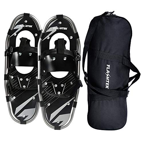 FLASHTEK Snowshoes for Men and Women Lightweight Aluminum Terrain Snowshoes for Mountaineering and Hiking (Gray Without Poles 21'', 21