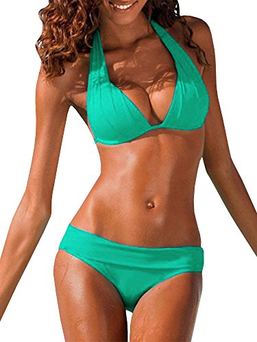 9201c1a18c4 Ofenbuy Womens Push Up Padded Halter Bikini Set Two Piece Swimsuits Bathing  Suits,Green,XX-Large