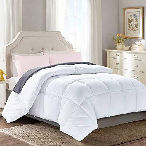"""Brermer Soft Twin Goose Down Alternative Comforter, All Seasons Puffy Warm Duvet Insert with 8 Corner Tabs, Luxury Reversible Hotel Collection, 88""""x 64"""", White"""