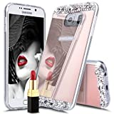 Galaxy S8 Plus Case,S8 Plus Case,ikasus Plating Bling TPU Mirror Back Case Skin,Luxury Crystal Rhinestone Soft Rubber Bumper Bling Diamond Glitter Mirror Makeup Case Cover for Galaxy S8 Plus,Rose Gold