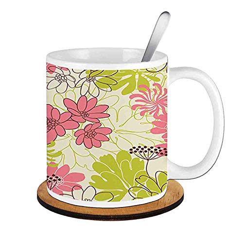 (Petals in Vivid Contrast Nature Tone ,Eggshell Pink Apple Green;Ceramic Cup with Spoon & Round wooden coaster Milk Coffee Tea Mug 11oz gifts for family)