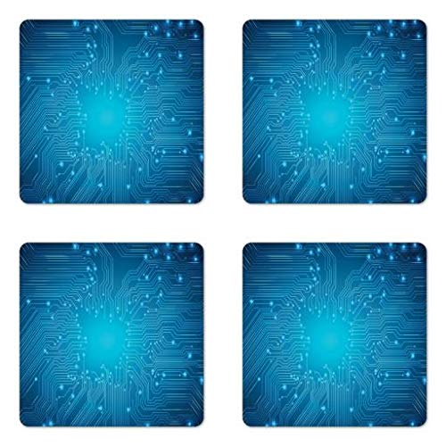 Lunarable Science Coaster Set Four, Digital Technologies Themed Lines Dots Composition Circuit Computer Science, Square Hardboard Gloss Coasters Drinks, Blue Aqua