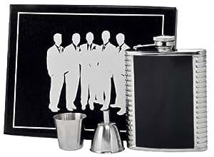 Visol VSET61-6020 Astaire 6-Flask and Funnel Groomsmen II Gift Set, Black
