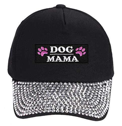 Dog Mama Hat - Womens Adjustable Rhinestone Studded Cap