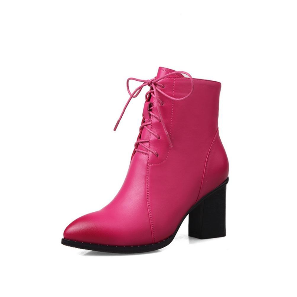 QPYC Frauen Damen High Heels Stiefel Herbst und Winter Die neuen spitzen rau mit Stiefel weiblichen echtes Leder einzigen Stiefel Spitze Martin Stiefel