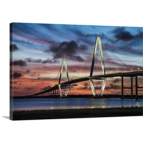um Thick-Wrap Canvas Wall Art Print entitled Arthur Ravenel Jr. Bridge crossing the Cooper River at sunset 24