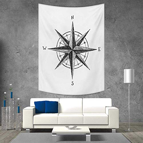 Complete Compass Room Decor - smallbeefly Compass Home Decorations Living Room Bedroom Seamanship Hand Drawn Windrose Complete Directions North South West Wall Art Home Decor 51W x 60L INCH Charcoal Grey White