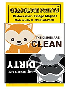 Clean Dirty Dishwasher Magnet Funny Raccoon and Fox Woodland Animals Home Gift