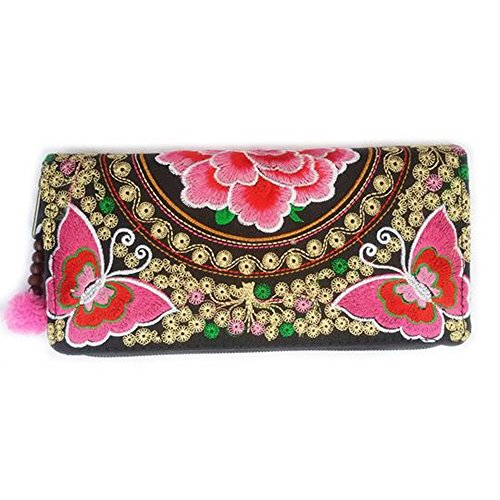 Embroidery Hill Tribal Handbags Women Thai Traditional Pattern Butterfly Pink lady Original By (Bottom Fill Convertible)