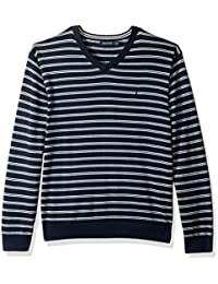 Men's Long Sleeve Striped Classic V-Neck Sweater