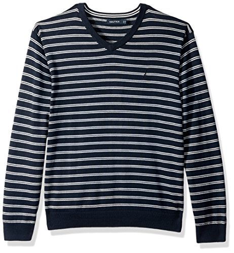 Navy Blue Striped Sweater (Nautica Men's Standard Long Sleeve Striped Classic V-Neck Sweater, True Navy, Large)