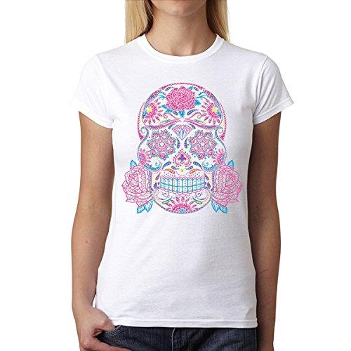 Cráneo Colorido Brillante Mujer Camiseta XS-2XL Nuevo Blanco