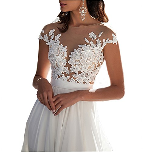 Chady Chiffon Beach Wedding Dress 2018 Lace Back Long Tail Wedding ...