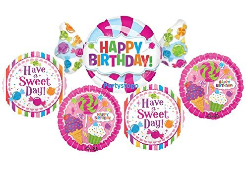 CANDY BALLOONS BOUQUET BIRTHDAY PARTY DECORATIONS SUPPLIES SWEET SHOP ICE CREAM LOLLIPOP CUPCAKE (Candyland Balloons)