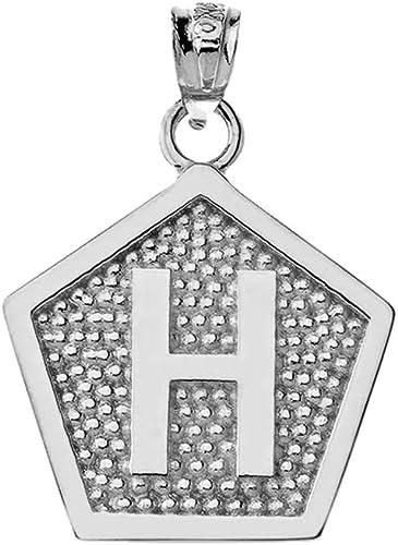 LA BLINGZ 10K Yellow Gold Letter T Initial Pentagon Pendant Necklace