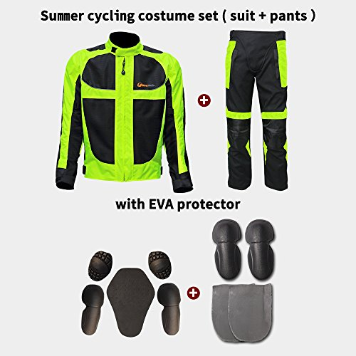 EVA Protector Motorcycle Costume, Fluorescence Green Cycling Protective Suit and Pants anti -crash Riding Clothes Set Size XXLarge