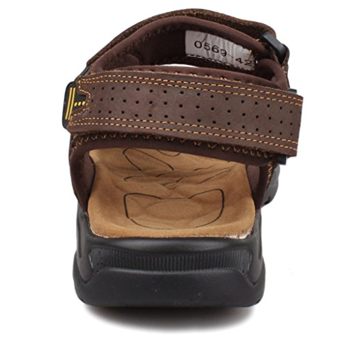 Fangsto Men's Leather Athletic Outdoor Walking and Hiking Sandals Brown UGs1zUqBR