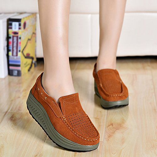 Loafers Platform On Women Hollow Sneakers Wedge Brown Shoes Slip Suede Out Hollow 2132 Moccasins Hollow Comfortable STQ 5qz4wUxUn