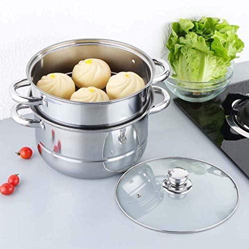 XH&XH Cuiseur à Soupe Multifonction en Acier Inoxydable à Double Couche Cuiseur à Induction Cuiseur à Soupe 26cm