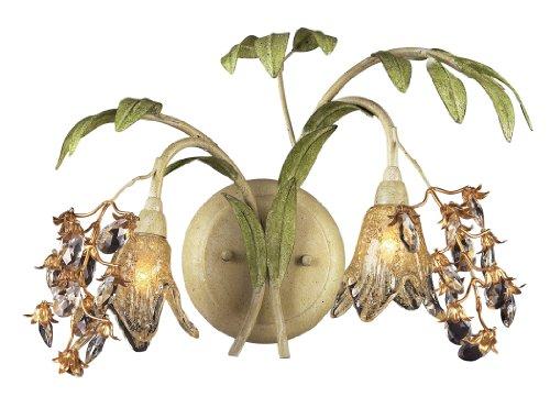 Elk 16050 2 Light Wall Bracket In Seashell And Amber Glass