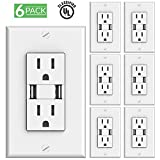 Sunco Lighting 6 PACK - UL Listed- High Speed USB Port Charger and Duplex Receptacle 15-Amp, 3.1A Charging Capability, Tamper Resistant Outlet- Wall-plate Included