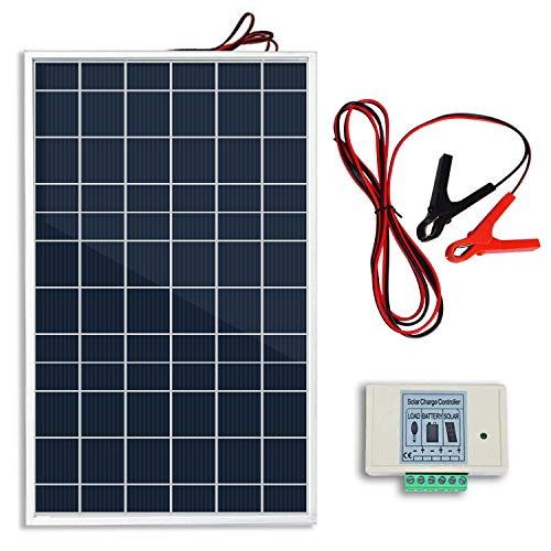 Eco Worthy 10w 12v Portable Waterproof Pv Polycrystalline Solar Panel System Kit W Battery Charge Controller 30 A Battery Clips Adapter