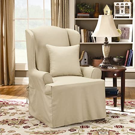 SF37741 Wing Chair Slipcover Flax SureFit Twill Supreme