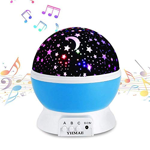 Music Night Light Lullaby,YHZO Rechargeable Stars Moon projector Lamp, 4 LED Bulbs 9 Light Color Changing(3.2FT USB Cord) ,360 Rotation,12 songs ,Gift for Babies Children,Nursery(Blue) ()