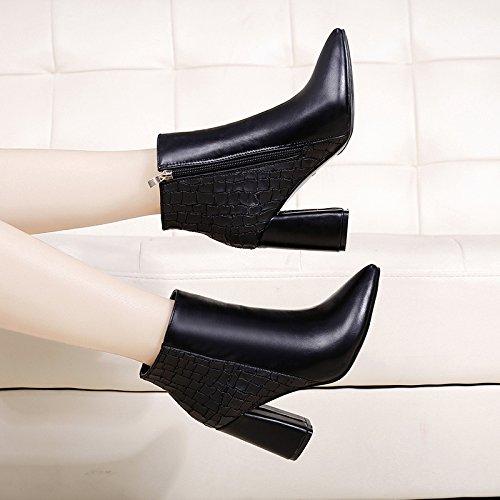 KHSKX-High Heel Heel Heel High Heel Shoes Martin Boots Short Tube Bare Boots Spring And Autumn Winter New English Velvet Cotton Boots Black ZhVpzv2H1