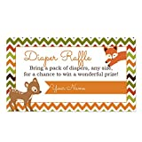 Baby : Woodland Animals Diaper Raffle Cards for a Baby Shower - 50 Count