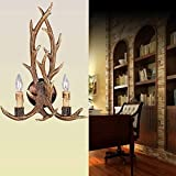 EFFORTINC Rustic Deer Horn Antler Wall Sconce 2 Light Fixture