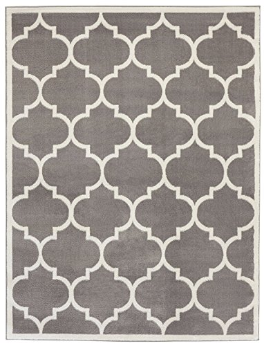 Sweet Home Stores Clifton Collection Light Grey Moroccan Trellis Design (5 x 7) Area Rug (White All Clifton)