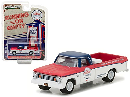Price comparison product image 1965 Dodge D-100 Pickup Truck Chevron Long Bed with Tool Box Running on Empty Series 3 1 / 64 Diecast Model Car by Greenlight 41030 A