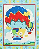 """""""Up Up and Away"""" Hot Air Balloon wih Baby Animals Cheater Quilt Cotton Panel (Great for Quilting, Sewing, Craft Projects, a Child's Quilt, Throw Pillows & More) 44"""" x 35"""" Wide"""