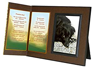 """Promises Kept"" Memorial Picture Frame and Pet Loss Sympathy Gift Package, with optional custom photo editing, Rich Dark Brown with Foil Accent"