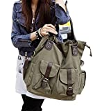 KISS GOLD(TM) Girl's Canvas Outdoor Shoulder Hand Bag Top Handle Bag (Army Green)