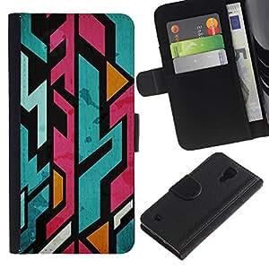 For Samsung Galaxy S4 IV I9500 Case , Pink Lines Graffiti Jagged Skate Ks8 - la tarjeta de Crédito Slots PU Funda de cuero Monedero caso cubierta de piel