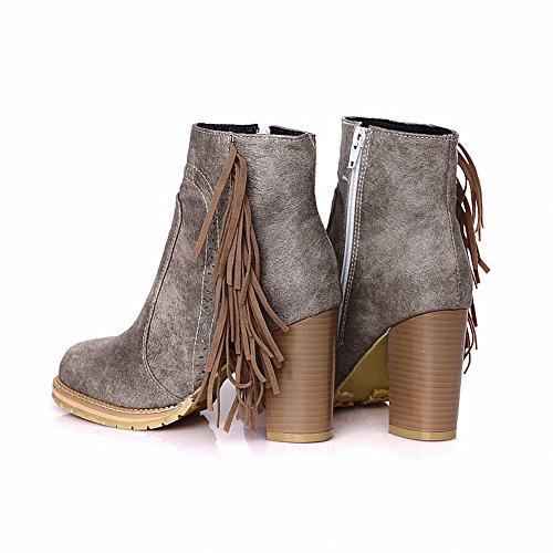 Carolbar Womens Mode Retro Vintage Tofsar Dragkedja Höga Chunky Klack Boots Grå