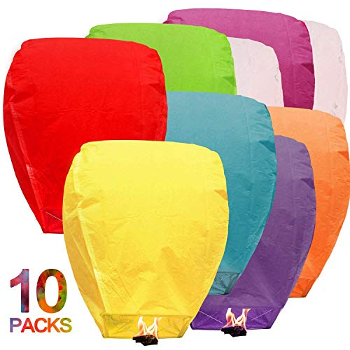 Maylai Sky Lanterns Flying Paper Lanterns Chinese Wish Lanterns for Birthday Wedding Party Anniversary Chinese Lanterns Assorted Colors100% Biodegradable Environmentally Friendly!(10 pcs) -