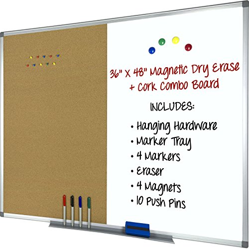 Magnetic Dry Erase, Cork Combo Board 36x48, Aluminum Frame with 4 Markers, 4 Magnets, 10 Push Pins, 1 Eraser, Marker Tray and Hanging Hardware Included