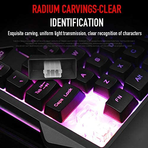 DADUIZHANG Profession Game Mechanical Wired Single Hand Gaming Keyboard USB Al Desktop Led Backlit Feel Keyboard Ergonomic with for Gamesblack