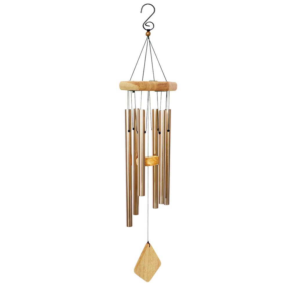 BLESSEDLAND Premium Wind Chimes-6 Hollow Aluminum Tubes, 31'' Amazing Grace Wind Chime for Garden,Yard,Patio and Home Decoration. (Nature)