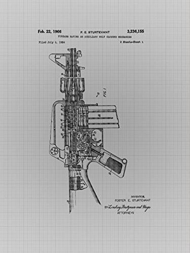 Framable Patent Art Original Ready to Frame Décor Military M16 Rifle Soldier Army 8in by 10in Poster Print Grey Blueprint PAPXSSP14GB from Framable Patent Art