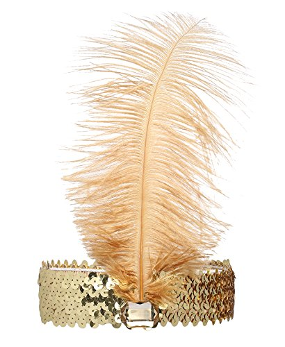 BABEYOND 1920s Flapper Headband Roaring 20s Sequined Showgirl Headpiece Great Gatsby Headband with Feather Black (Gold)]()