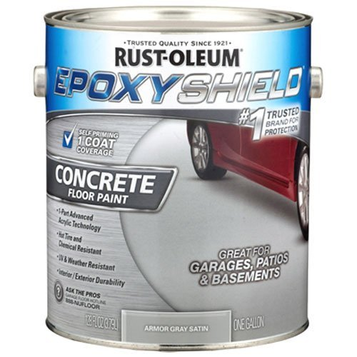 RUST-OLEUM 225359 Epoxy Shield Gallon Gray Base Single Part 1-Gallon Armor Concrete Floor (Epoxy Concrete Paint)