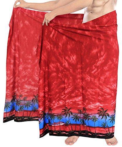 Traje Para Baño Beachwear De Hombre Leela d729 La Envoltura Rojo Del Hawaiano Encubrir Pareo wX6B1vAq