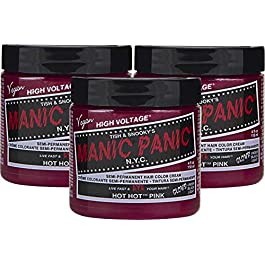 Manic Panic Hot Hot Pink Hair Dye – Classic High Voltage – (3PK) Semi Permanent Hair Color – Medium Pink – Glows in Blacklight – For Dark & Light Hair – Vegan, PPD & Ammonia Free – For Coloring Hair
